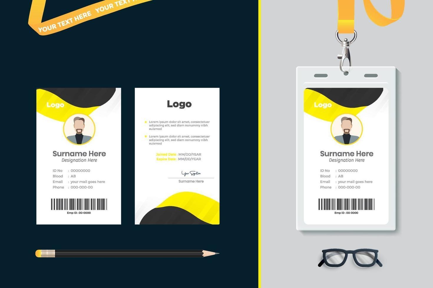 Id card template design vector