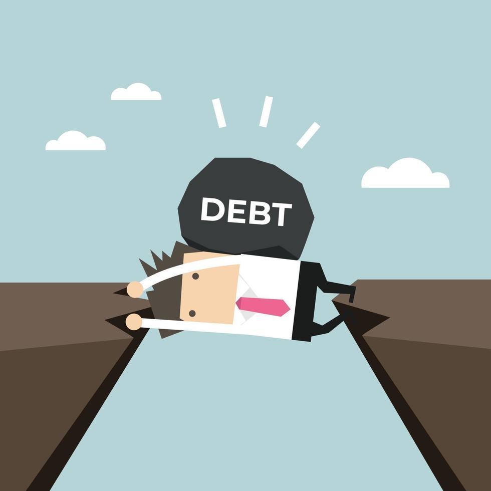 empresario atrapado en un acantilado con una deuda en la espalda. empresario y crisis física de la deuda. vector