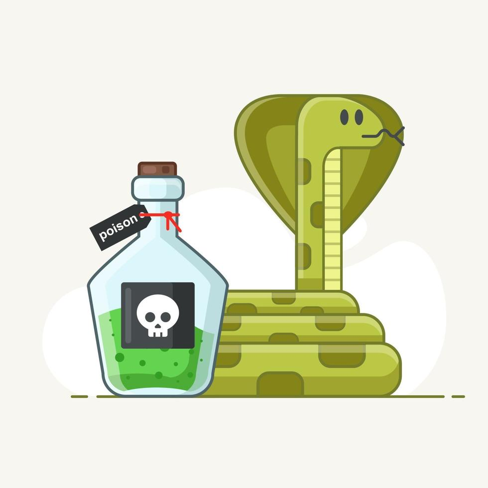 venomous snake on a white background. flask with green poison. extraction of fluid from reptiles. medical medicine. flat vector isolated illustration.