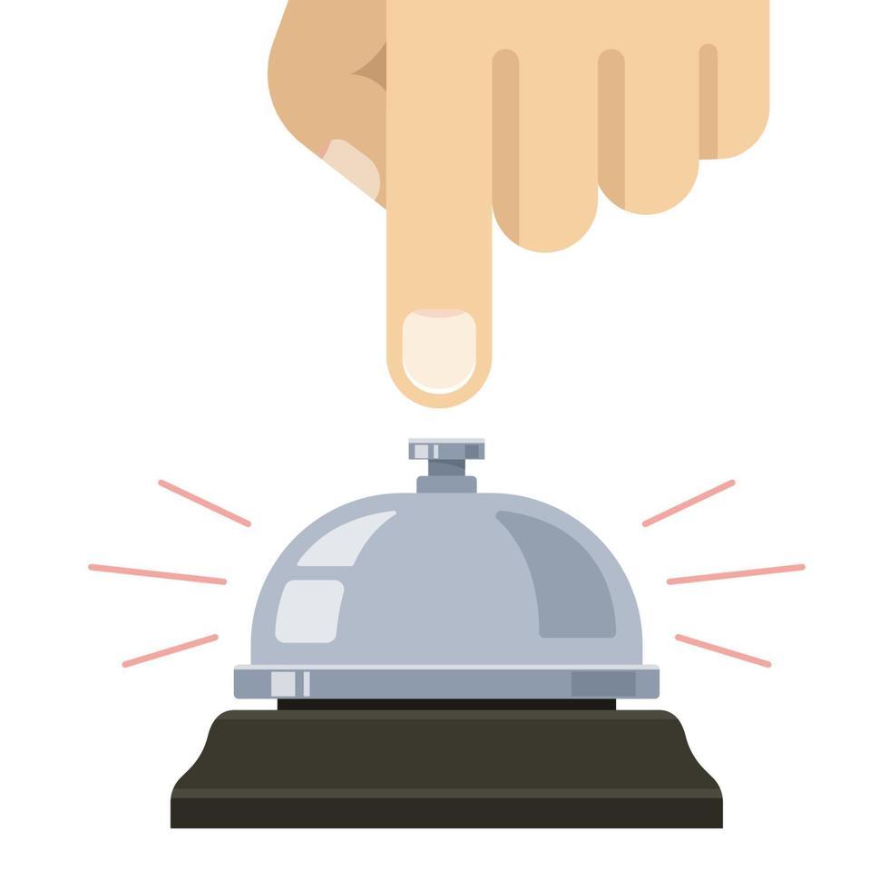 timbre de mesa. mano presiona la campana. llamar al personal. ilustración vectorial plana. vector