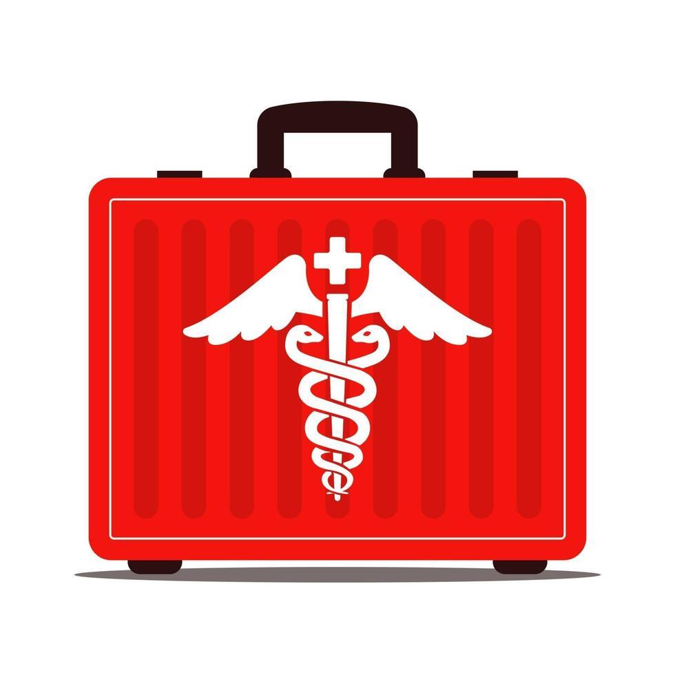 maleta médica roja con drogas. símbolo del caduceo. primeros auxilios. ilustración vectorial plana. vector