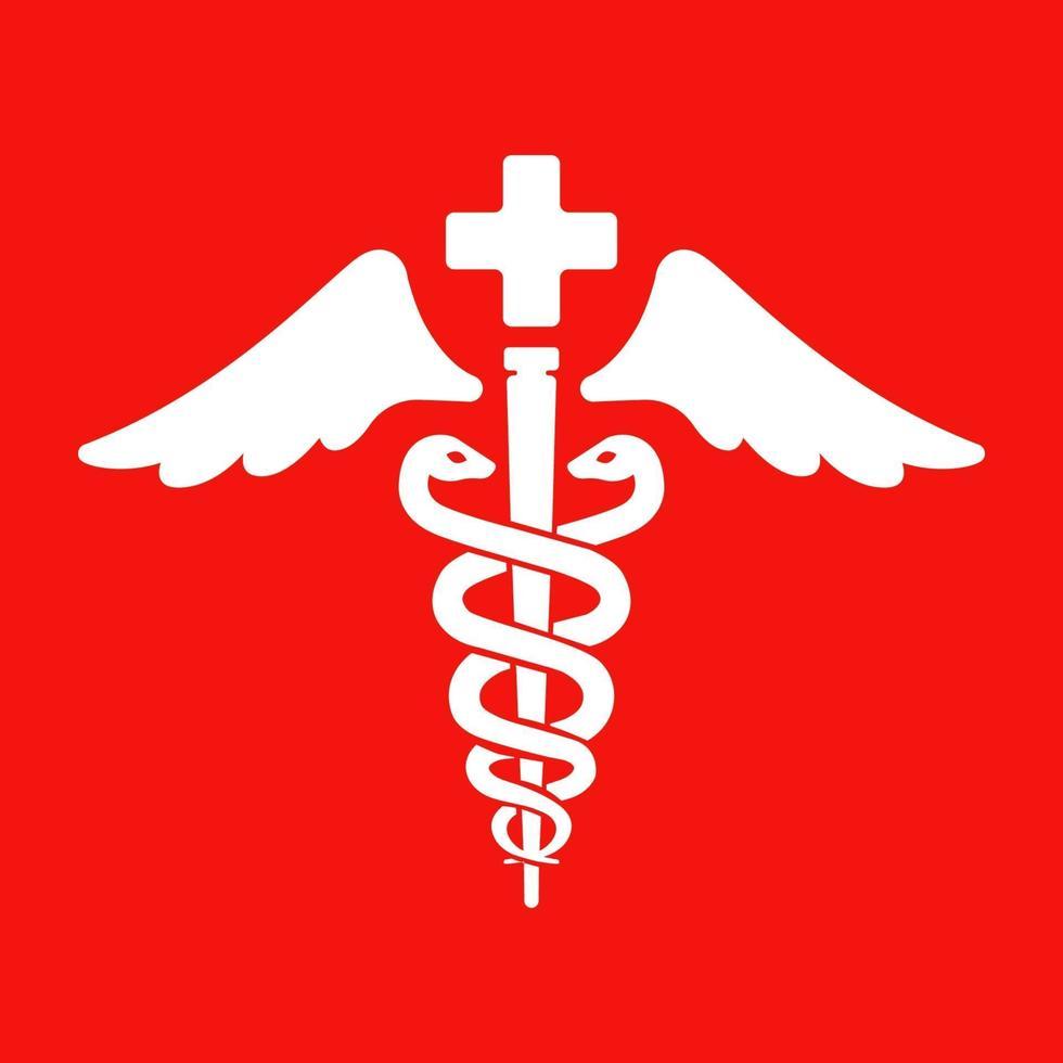 símbolo de cuidado de la salud. dos serpientes y una vara sobre un fondo rojo. logo para la farmacia. ilustración vectorial plana. vector