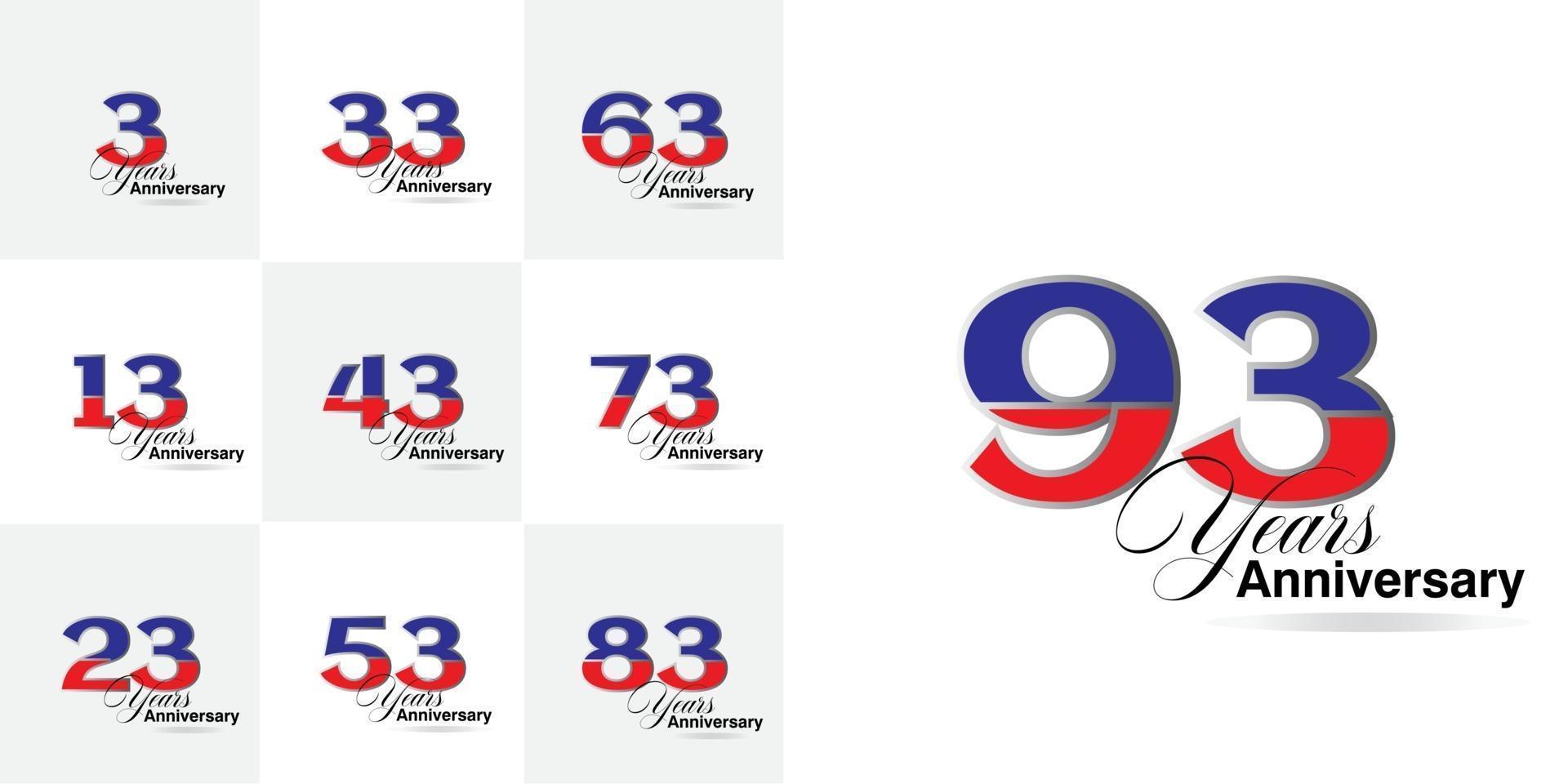 set 3, 13, 23, 33, 43, 53, 63, 73, 83, 93  Year Anniversary celebration number set vector