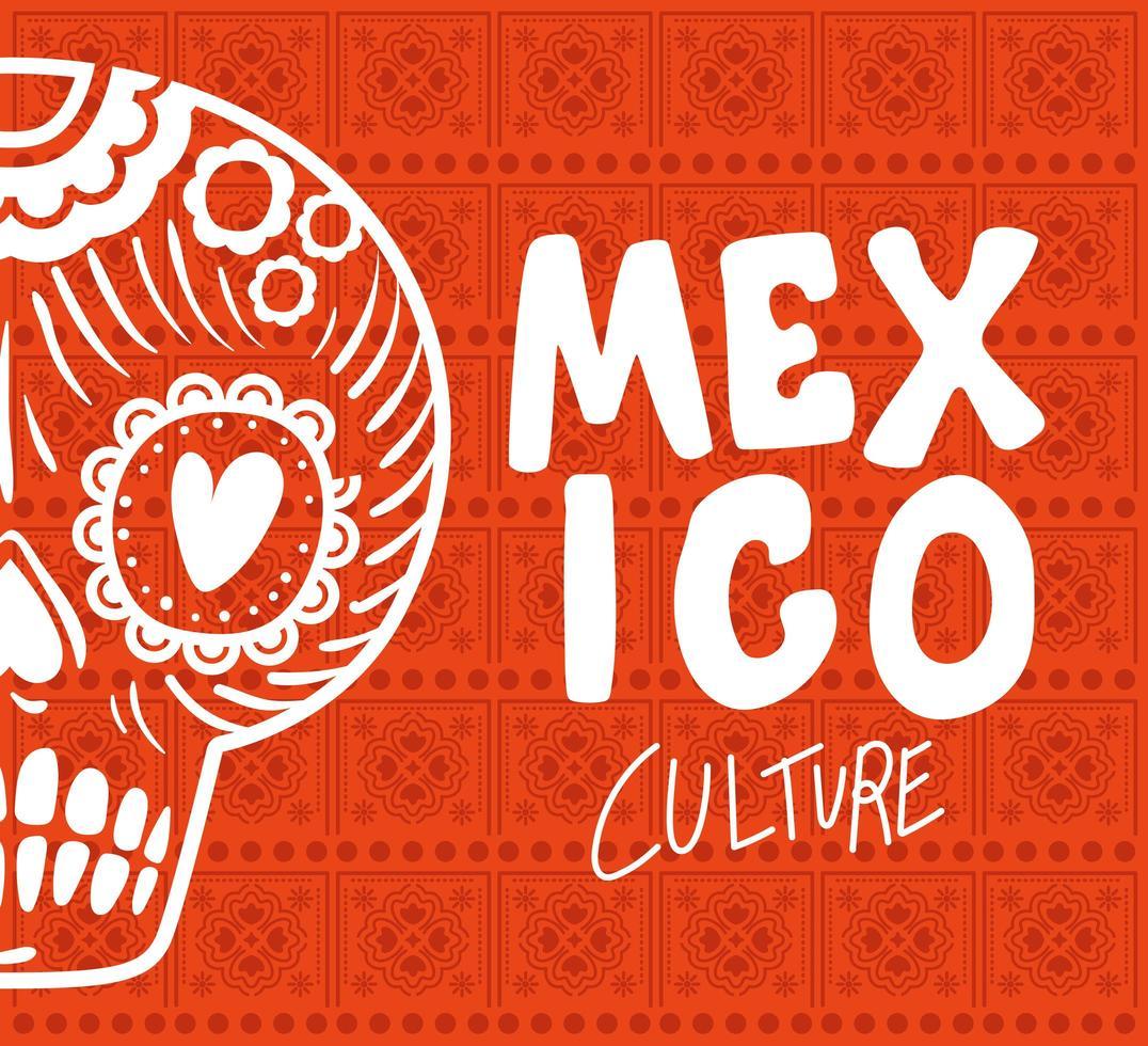 Letras de la cultura de México con diseño de vector de calavera
