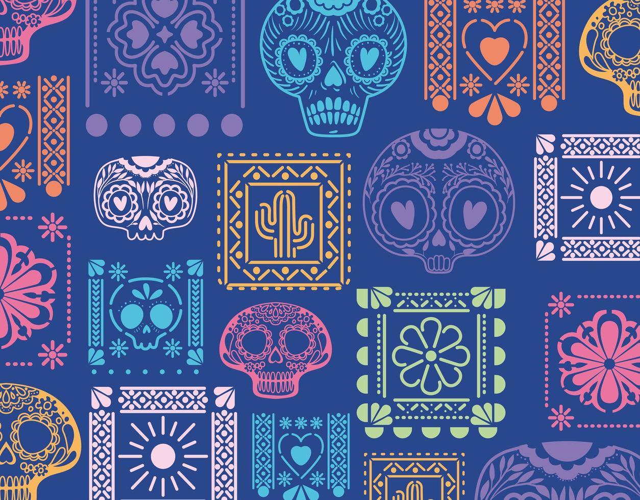 Fondo azul mexicano con calaveras y flores diseño vectorial vector