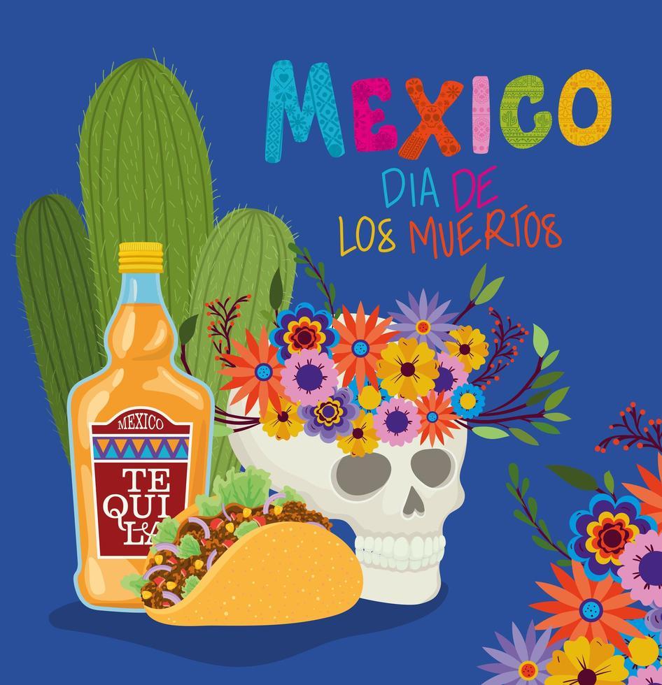 calavera, tequila y taco para la celebración del día de los muertos vector