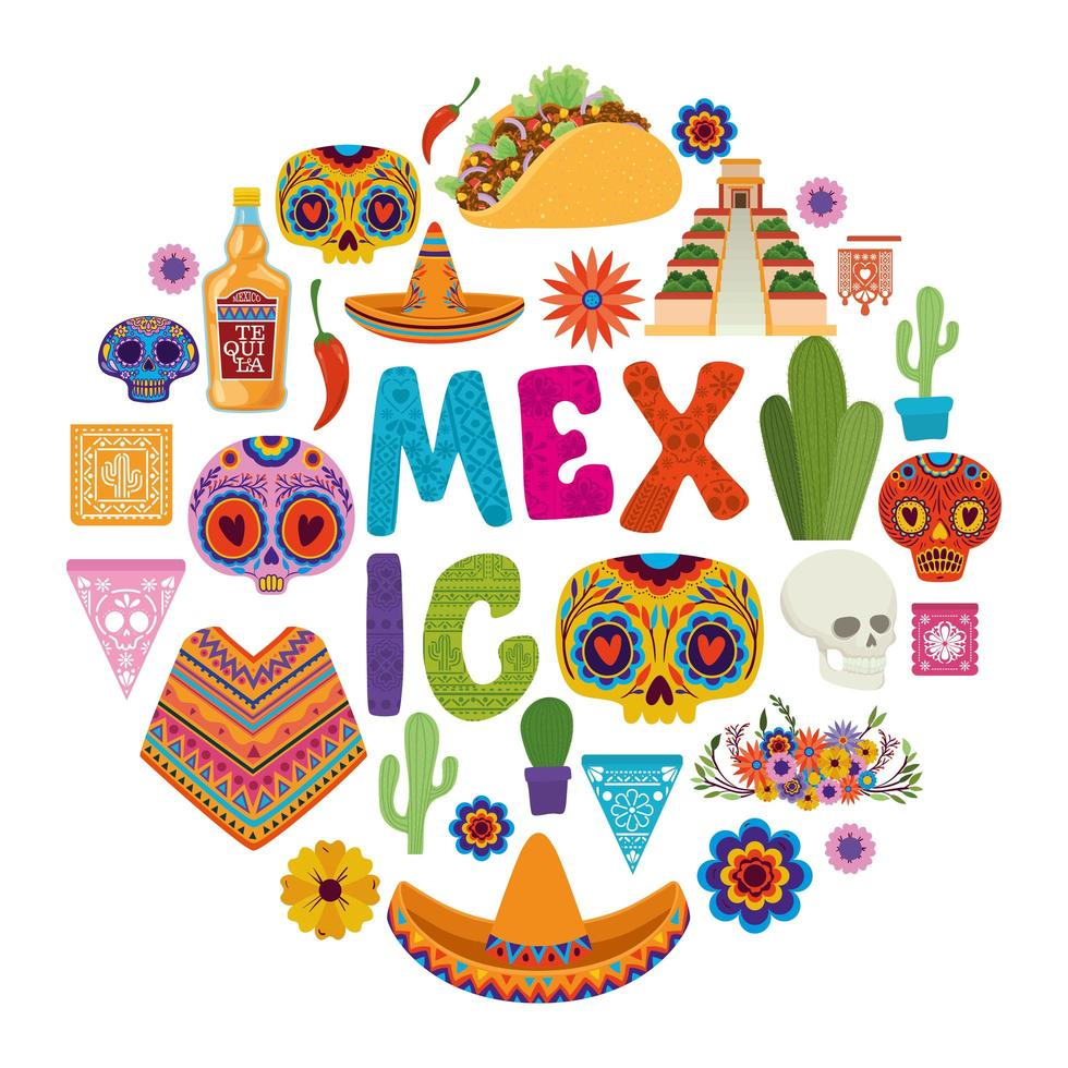 conjunto de iconos mexicanos vector
