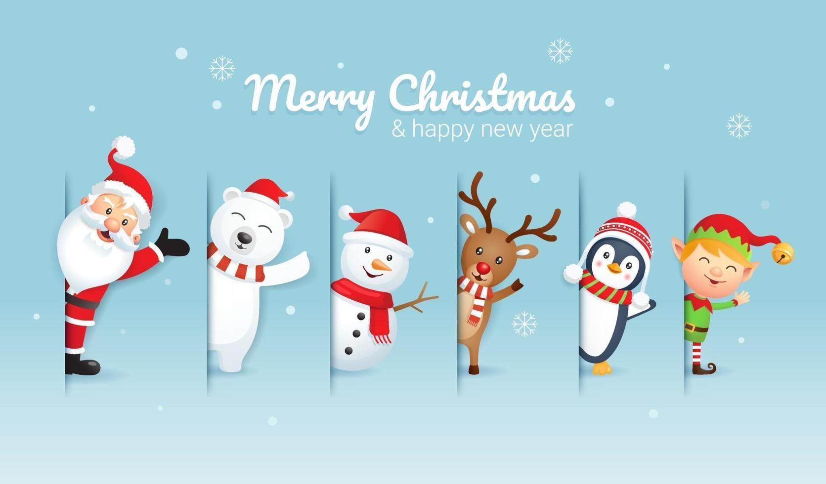 Merry christmas and happy new year background. Santa claus and friends on blue color vector illustration.