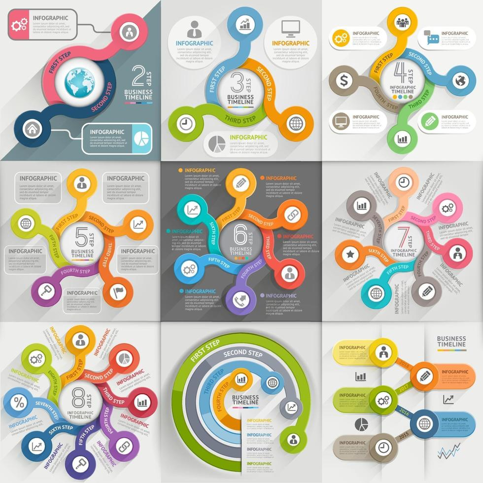 Infographics template set. Vector illustration. can be used for workflow layout, banner, diagram, number options, web design, timeline elements