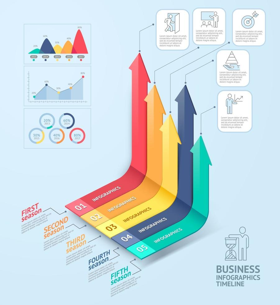 Business arrows infographics template. Can be used for workflow layout, diagram, number options, web design and timeline. vector