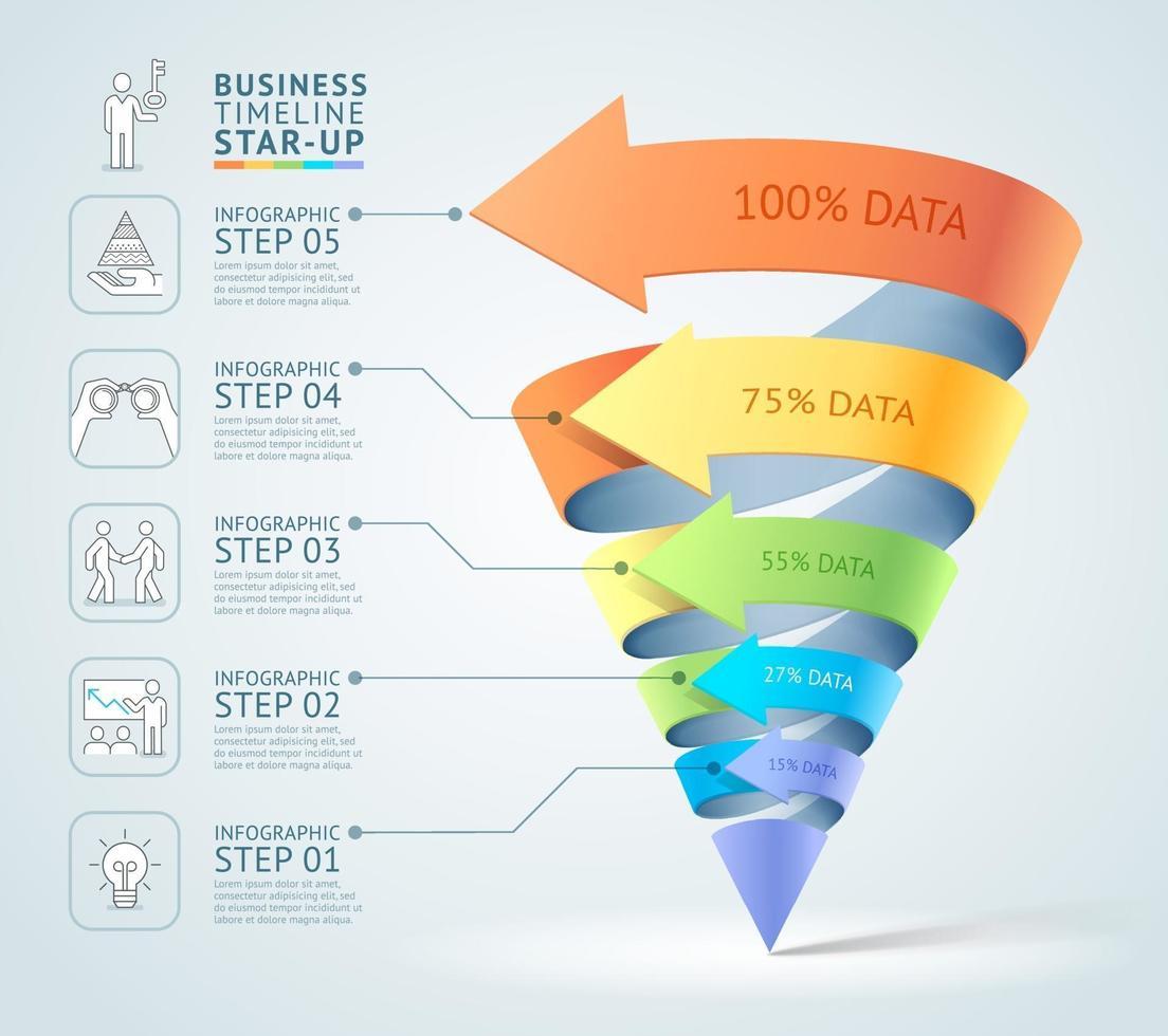 moderno diagrama de escalera 3d cono negocio. ilustración vectorial. se puede utilizar para diseño de flujo de trabajo, banner, opciones numéricas, plantilla de inicio, diseño web, infografías, plantilla de línea de tiempo. vector