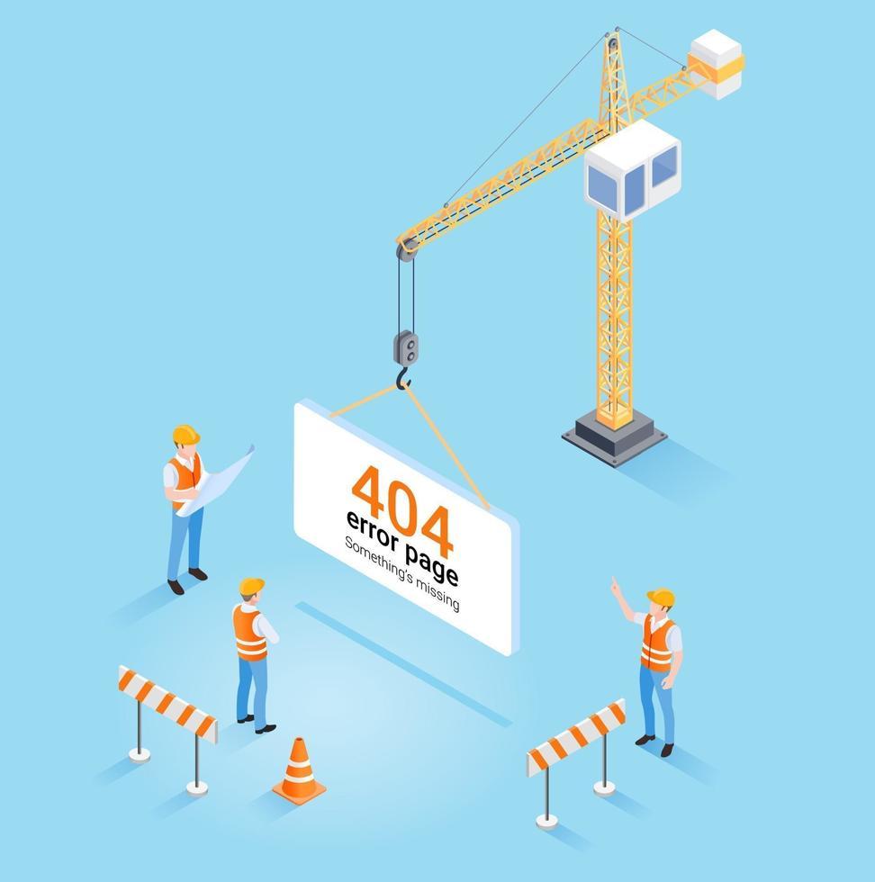 grúa de construcción que cuelga la página de error 404 no encontrada y sitio web en construcción o concepto de mantenimiento. ilustración vectorial isométrica. vector