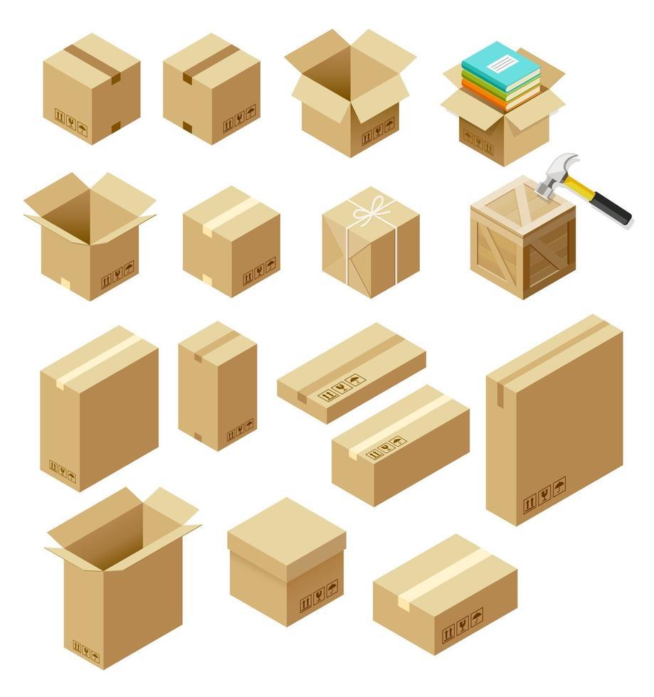 conjunto de ilustración isométrica de vector de paquete.