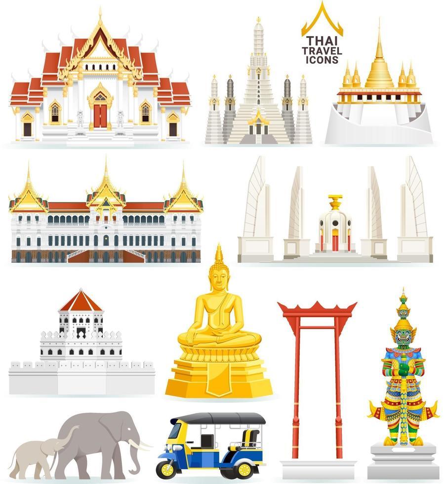 Thai famous landmark icons. Vector illustrations.