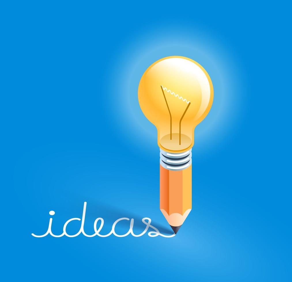 bombilla de luz en lápiz escribiendo ideas de texto. ilustraciones vectoriales. vector