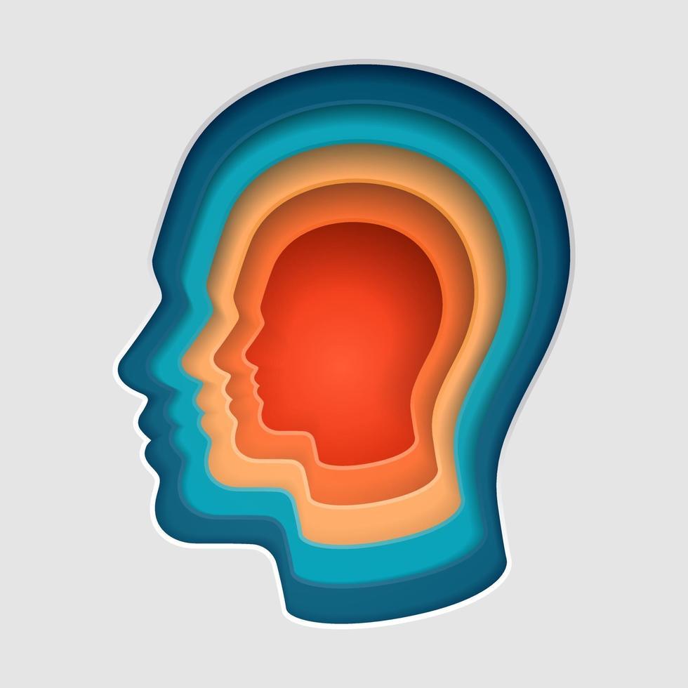 hombre, cabeza, mente, pensamiento, símbolo, corte de papel, vector, ilustraciones. vector