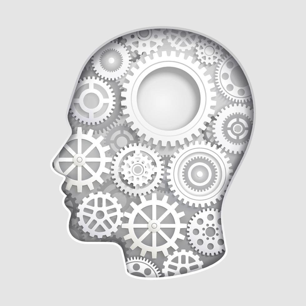 mente de la cabeza del hombre pensando con símbolos de engranajes ilustraciones vectoriales de corte de papel. vector