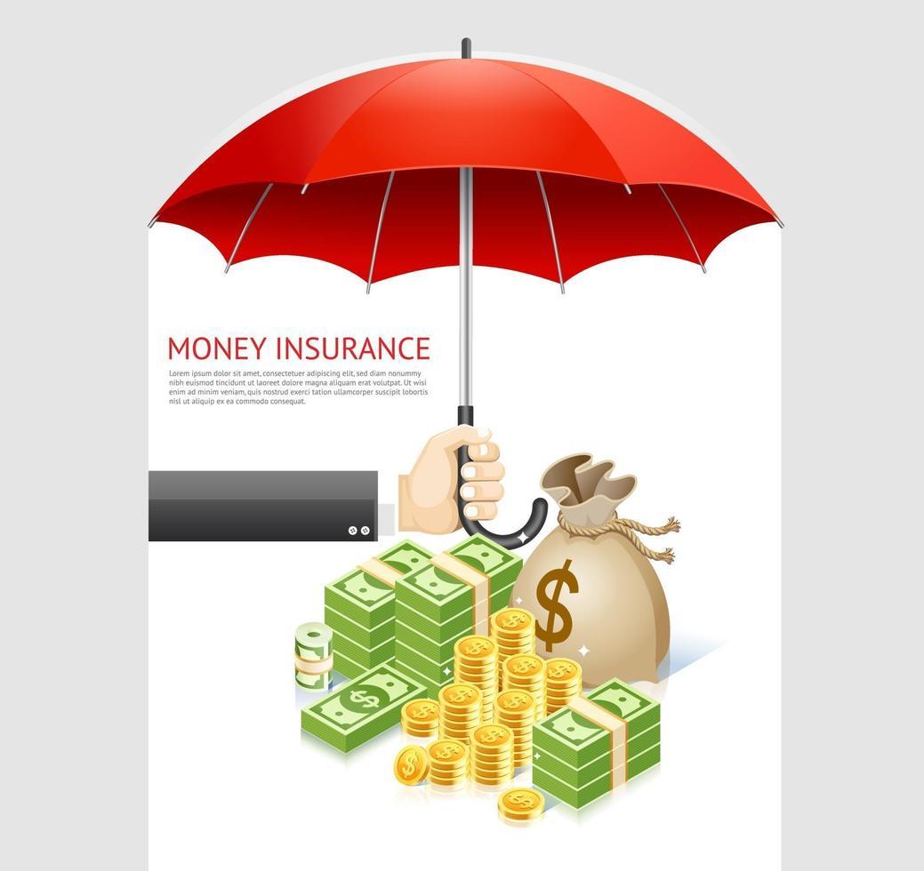 diseño de concepto de seguro de dinero. dinero bajo la ilustración de vector de paraguas aislado sobre fondo blanco.