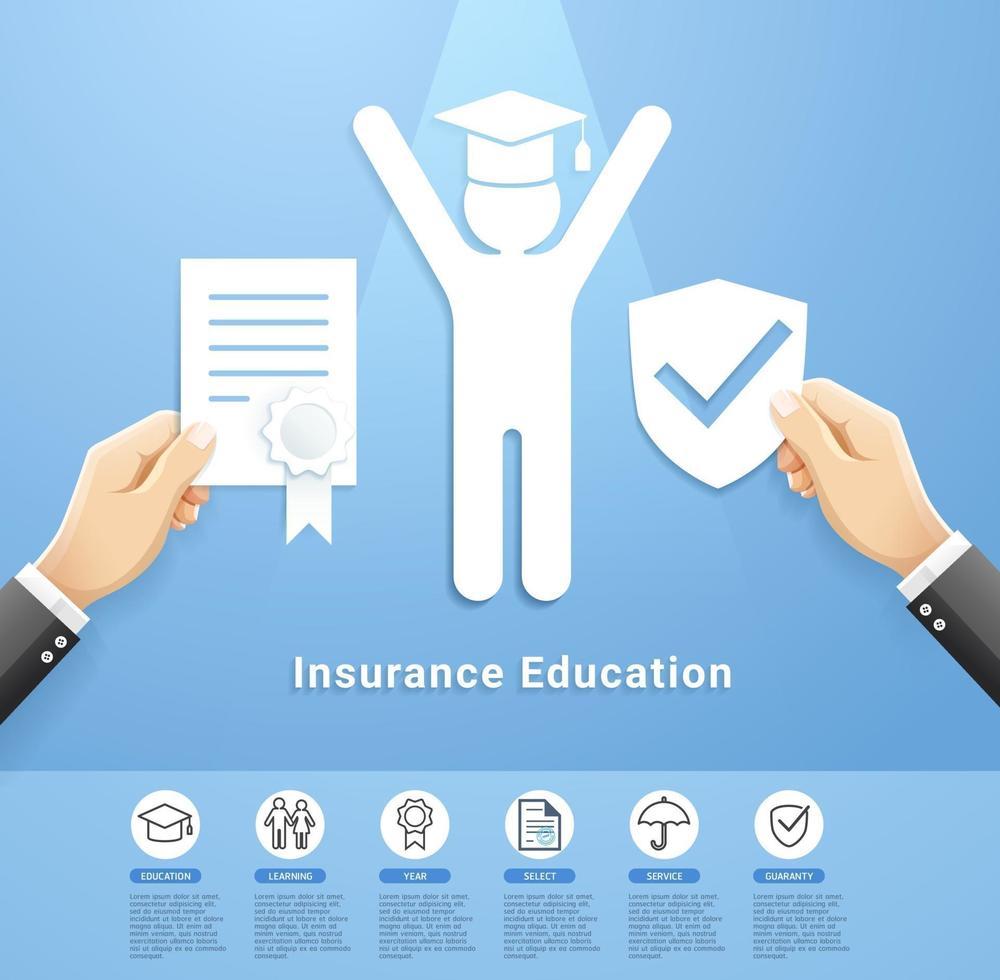 diseño conceptual de servicios de póliza de seguros de educación. ilustraciones vectoriales estilo de corte de papel. vector