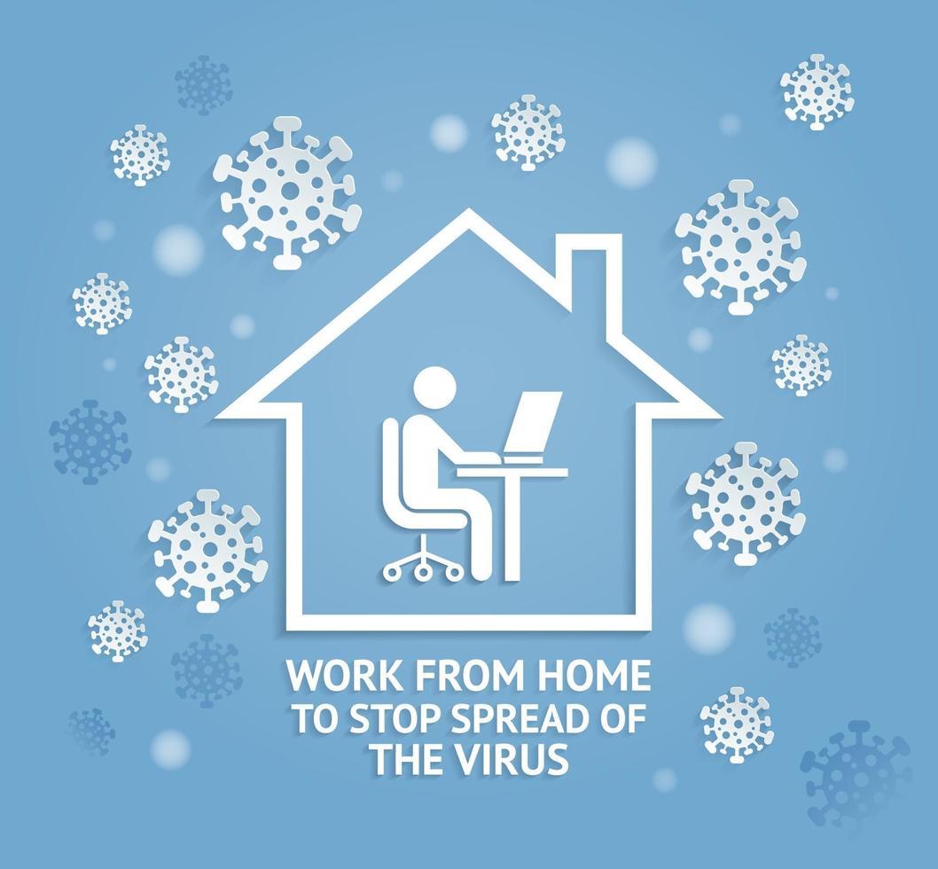 trabaje desde casa para detener la propagación de las ilustraciones de vectores de estilo de corte de papel de virus.