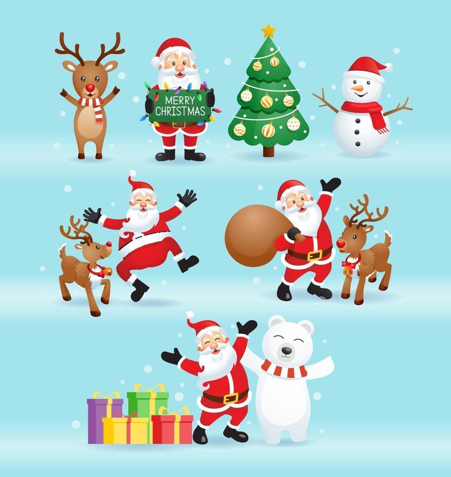 Papá Noel y amigos para la ilustración de vector de día de Navidad.