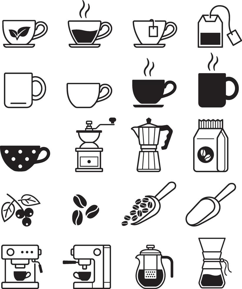iconos de café negro. ilustraciones vectoriales. vector