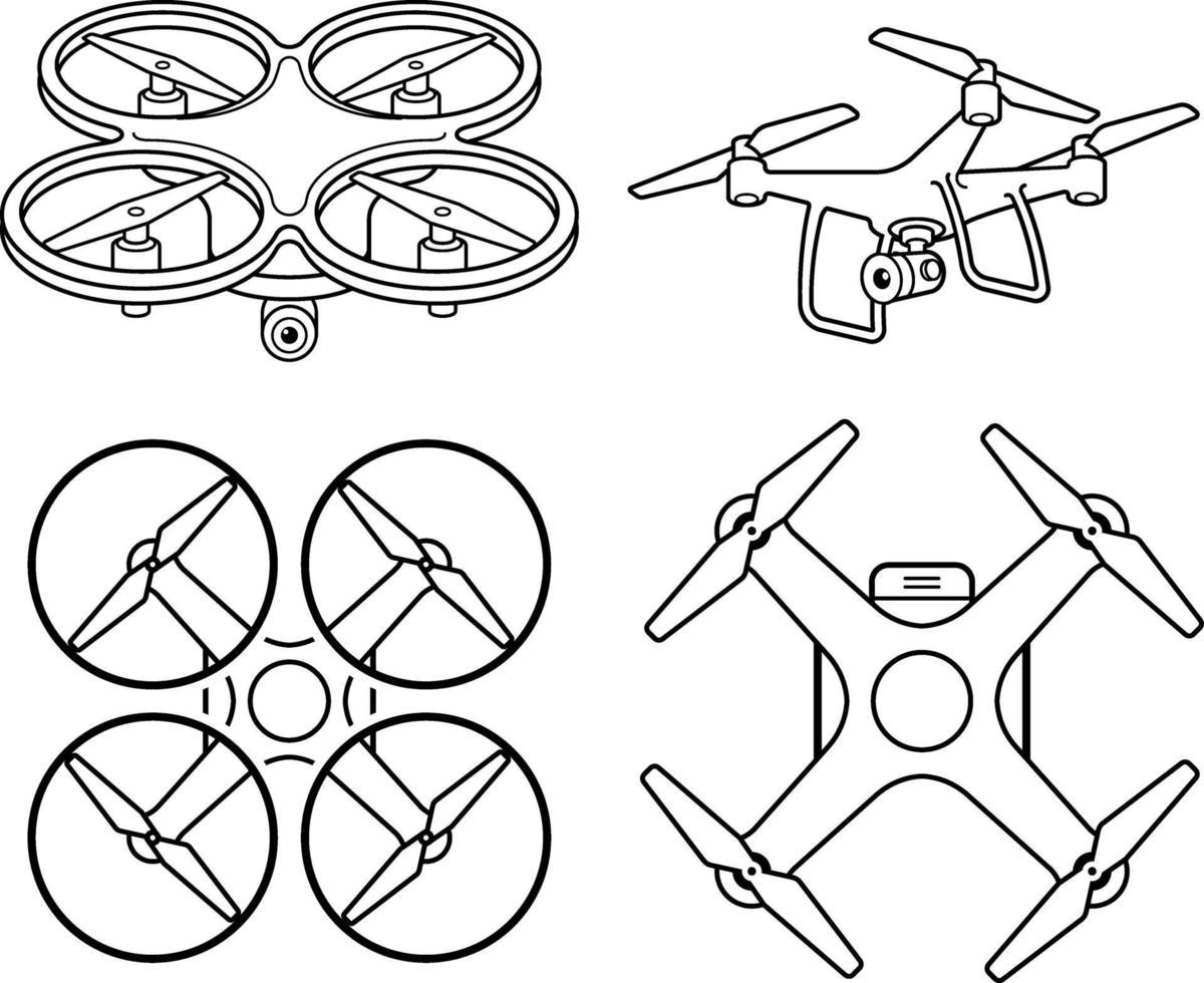 Conjunto de iconos de línea de silueta de drone. ilustración vectorial. vector