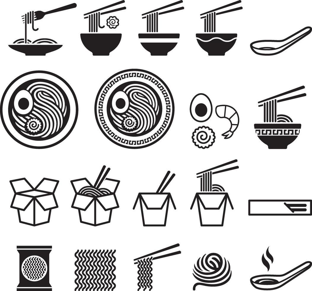 conjunto de iconos de fideos. ilustraciones vectoriales. vector