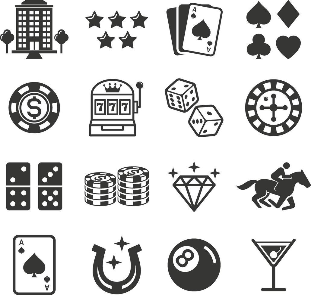 iconos de casino. ilustraciones vectoriales. vector