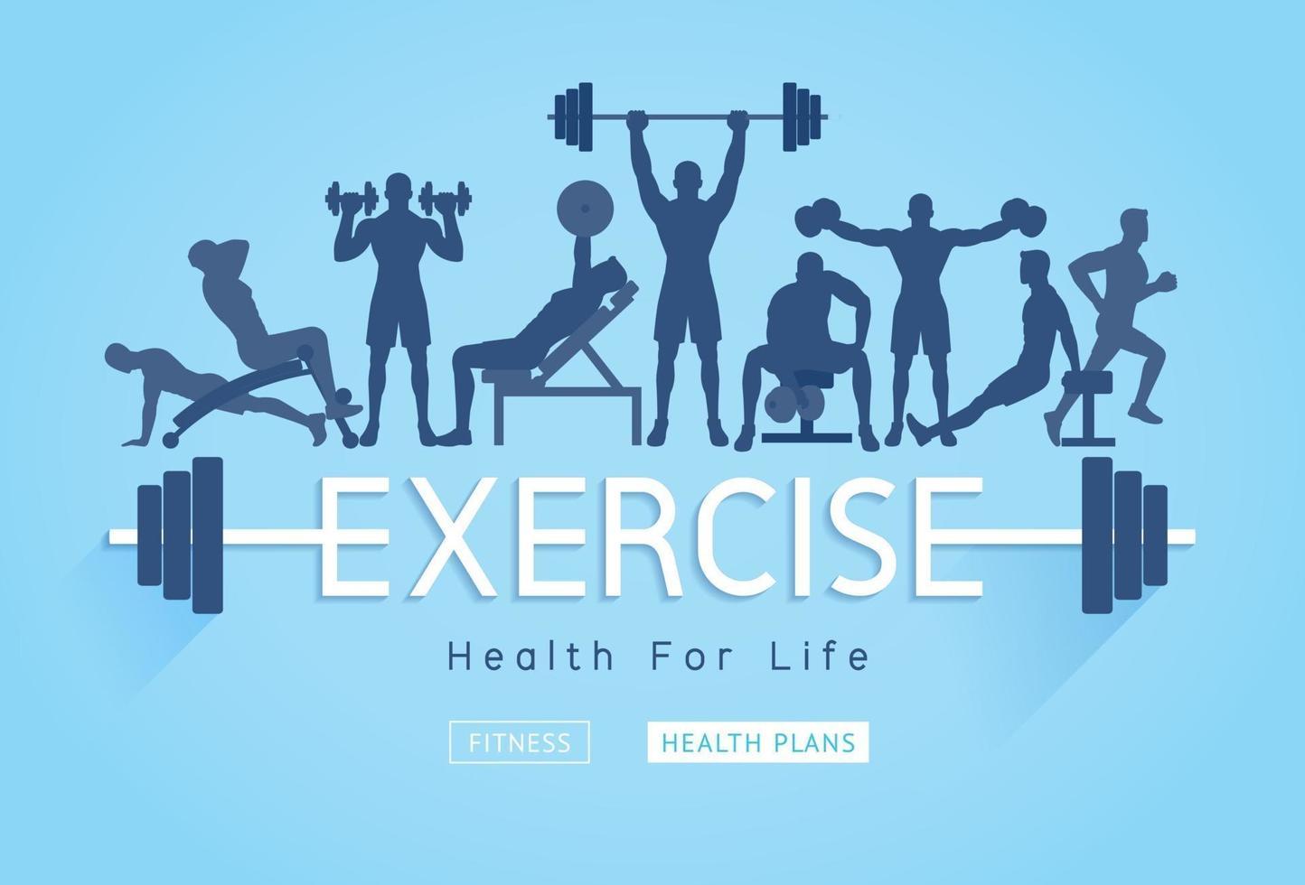 ejercicios de diseño conceptual. jóvenes haciendo ejercicios de silueta. ilustraciones vectoriales de promoción de banner de fitness deportivo. vector