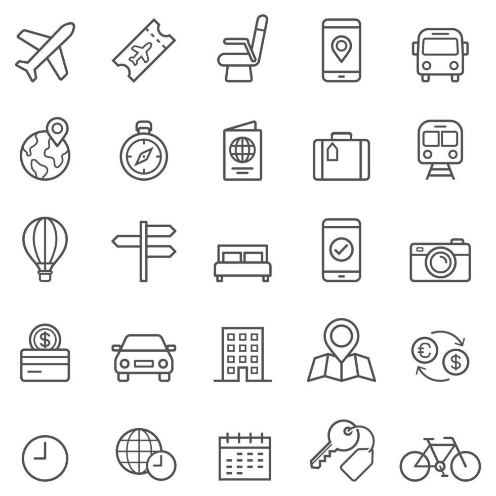 iconos de línea de reserva de viajes. ilustraciones vectoriales. vector