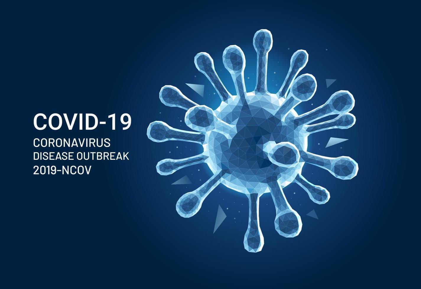 coronavirus covid 19 virus polígono malla estilo vector ilustración fondo.
