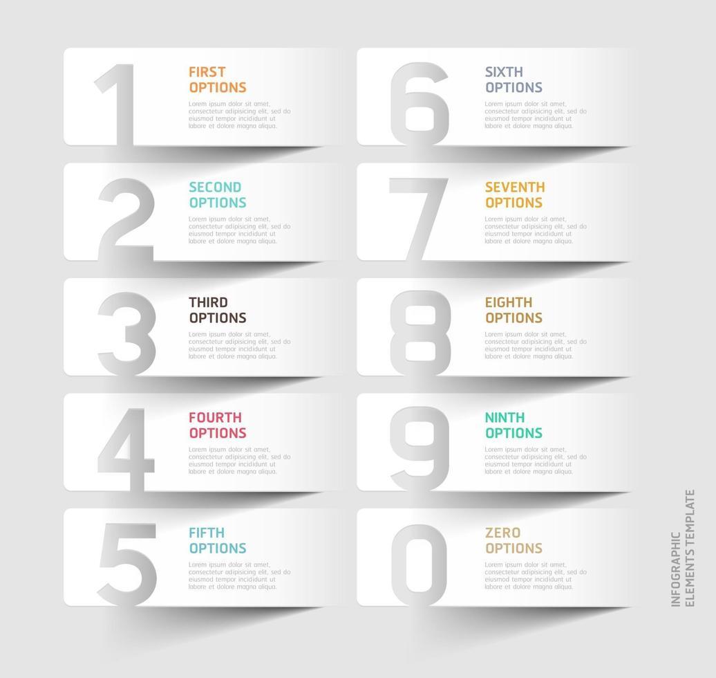 plantilla de corte de papel numérico. ilustraciones vectoriales. vector