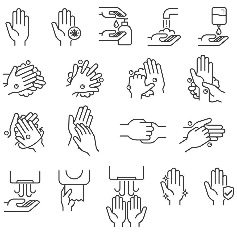 Iconos de pasos de lavado de manos ilustraciones vectoriales. vector