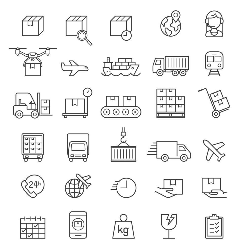 Conjunto de iconos de línea de entrega de carga logística. ilustraciones vectoriales. vector