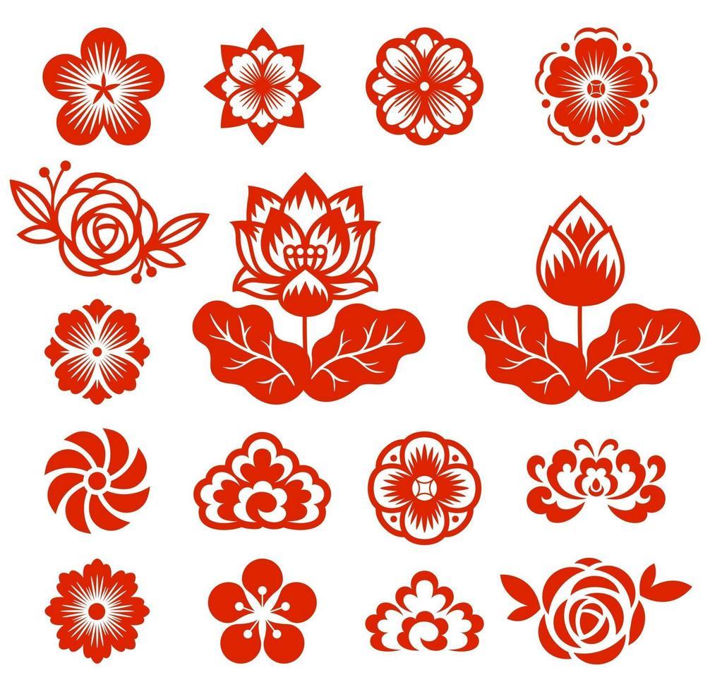Flores chinas corte de papel ilustraciones vectoriales en color rojo. vector