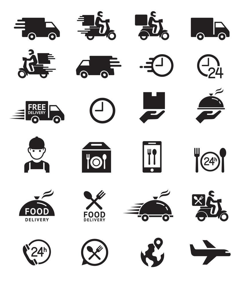 iconos de entrega de alimentos. ilustraciones vectoriales. vector