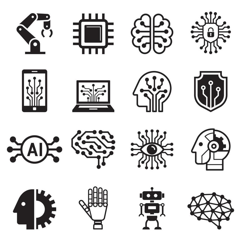 iconos de inteligencia artificial de robot ai. ilustración vectorial. vector
