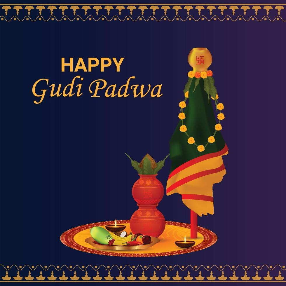 feliz gudi padwa fondo del festival del sur de la india vector