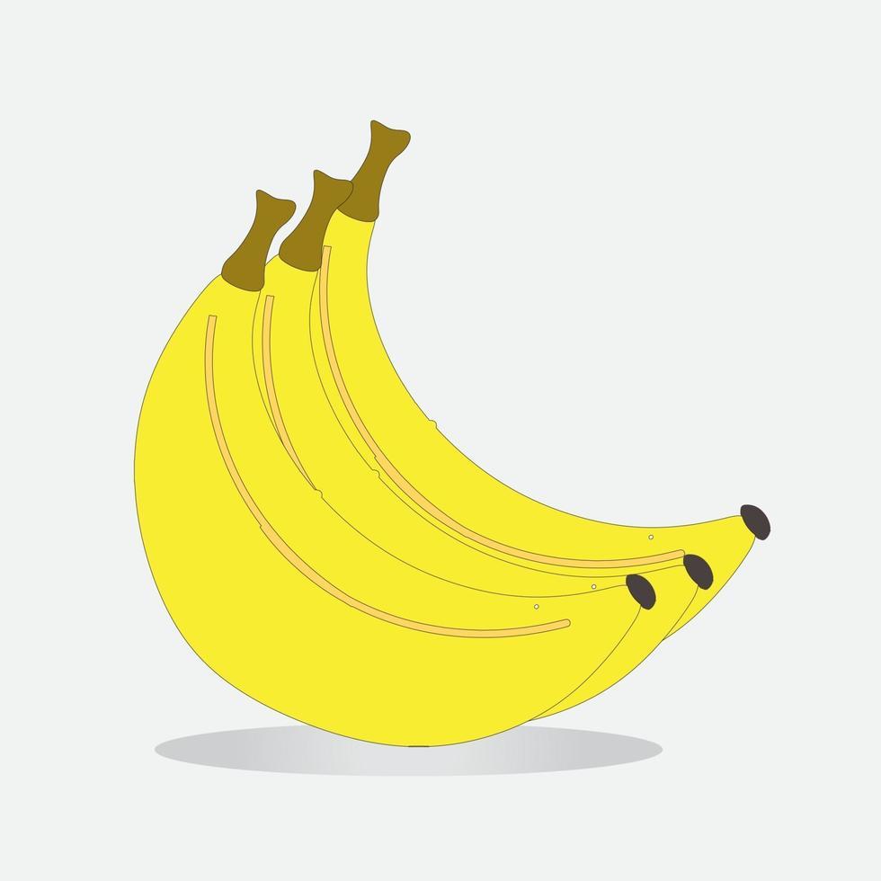 plátano amarillo, realista sobre un fondo blanco aislado. vector
