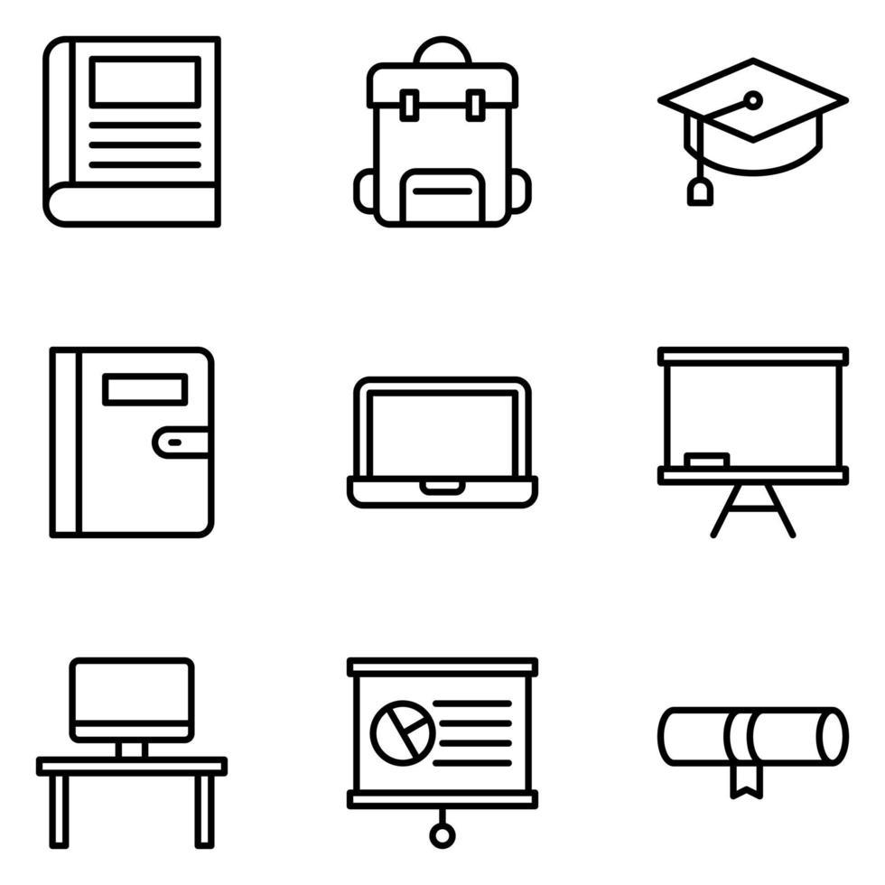 conjunto de iconos de educación vector