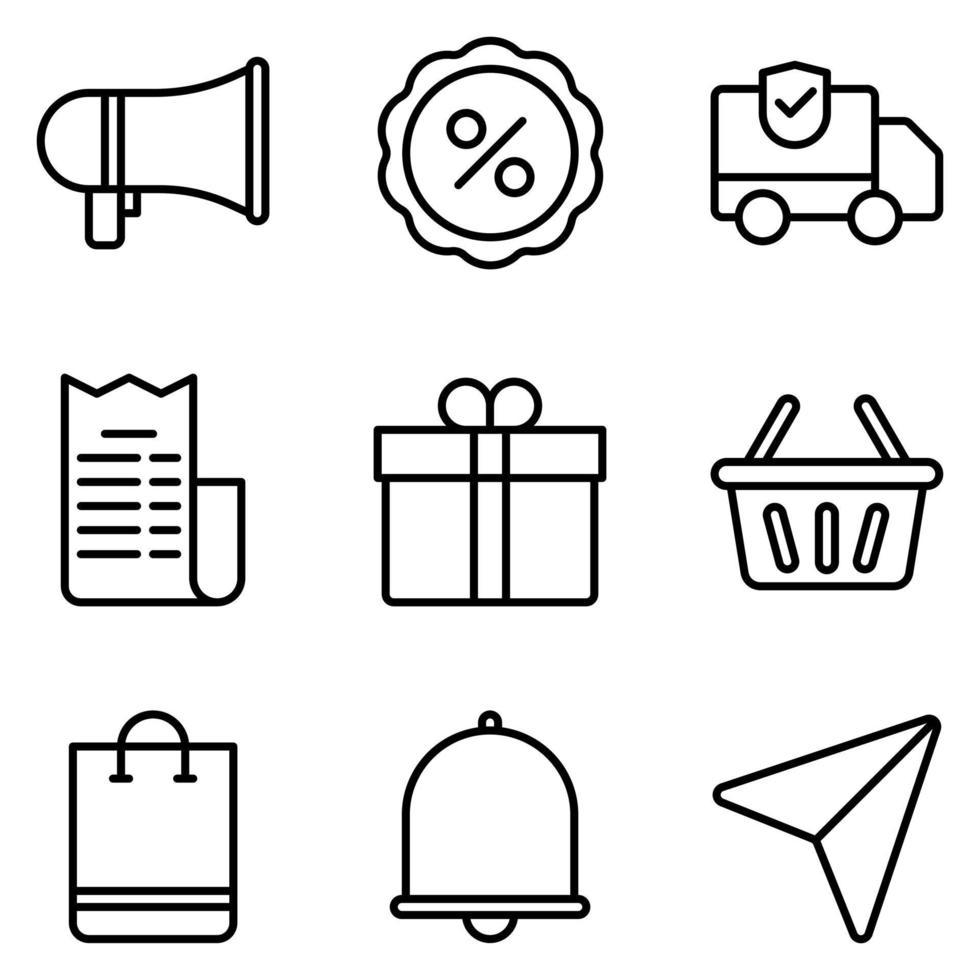conjunto de iconos de esquema de comercio electrónico vector
