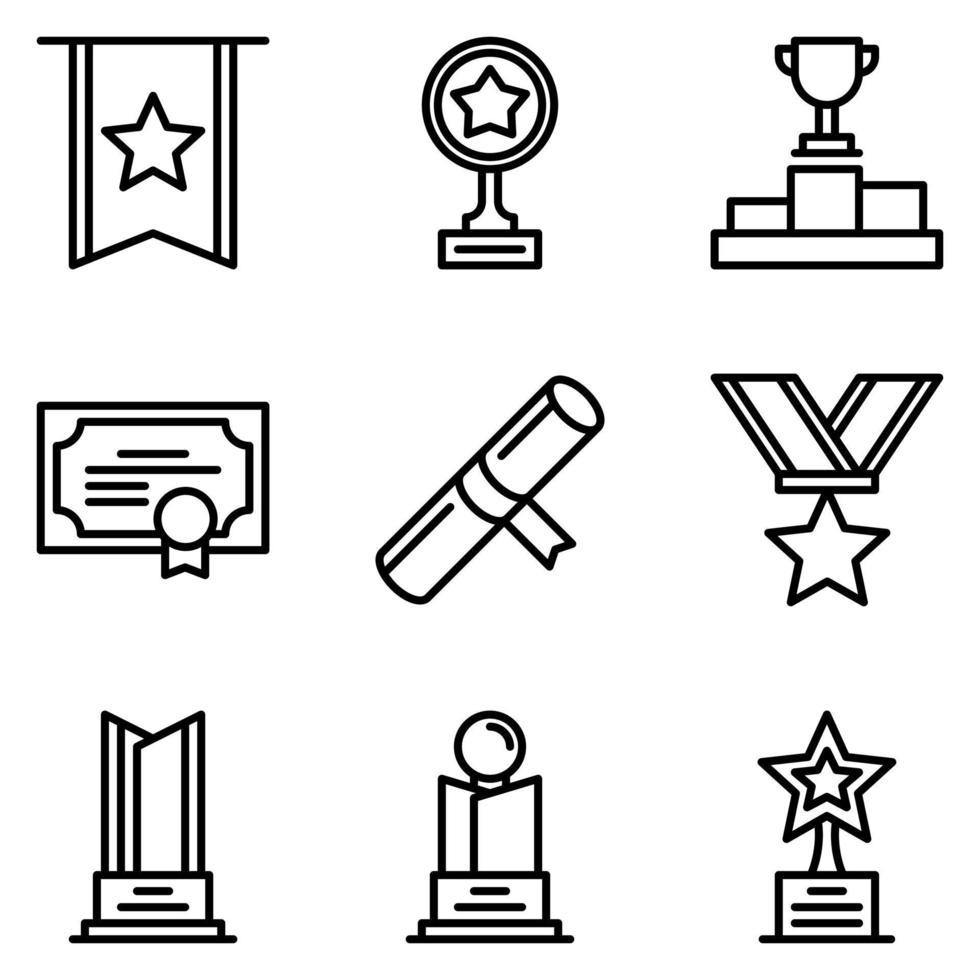 premio conjunto de iconos vector