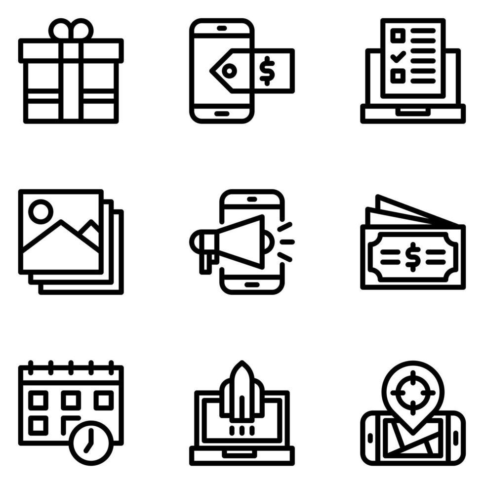 conjunto de icono de marketing digital vector