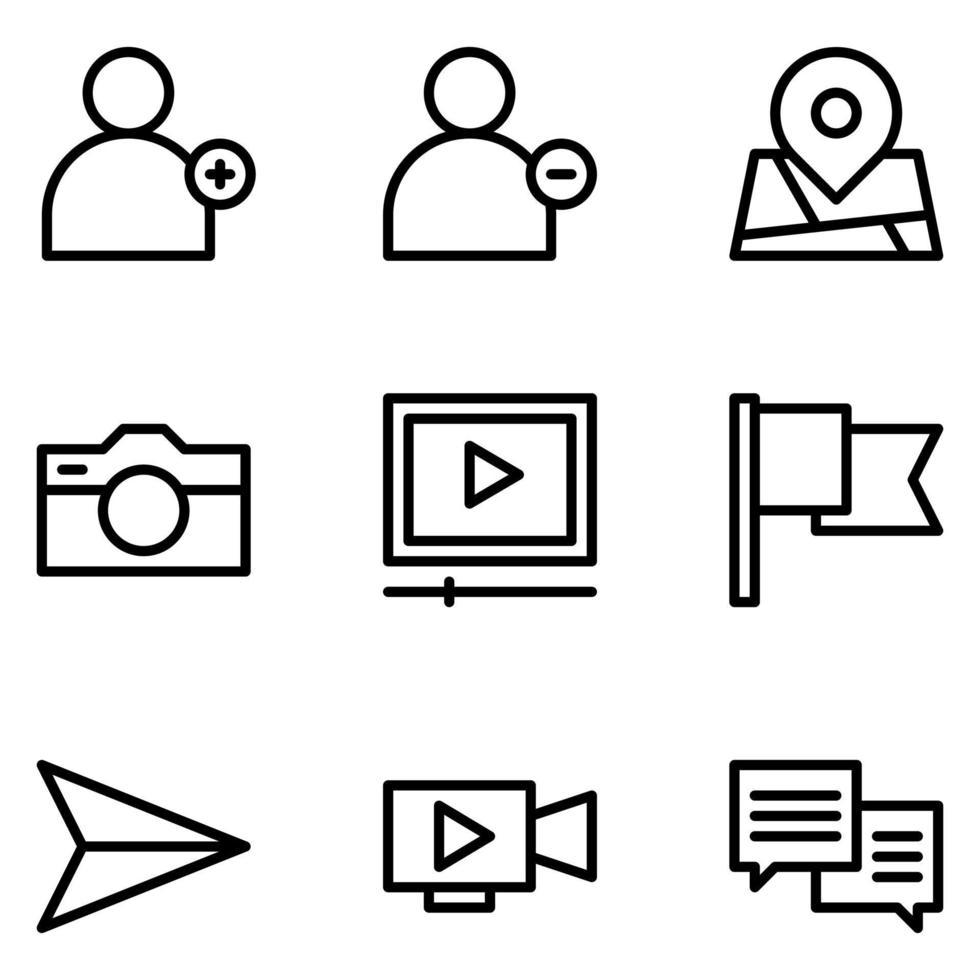iconos de redes sociales de línea gratis vector