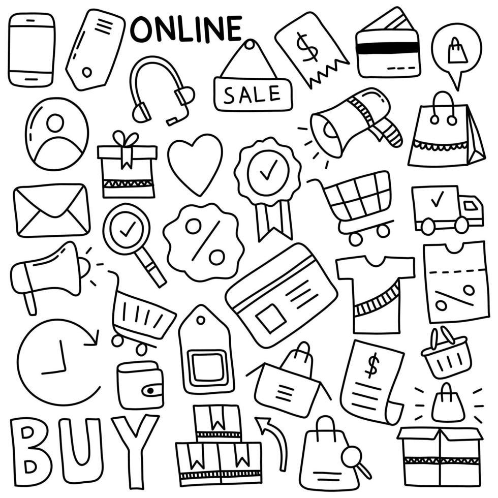 garabatos de compras en línea vector