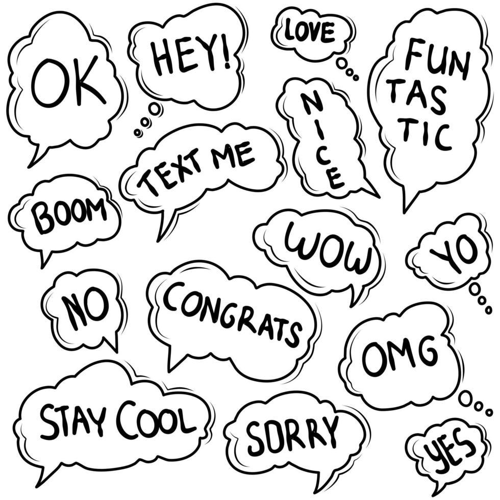 doodle de burbujas de discurso con texto vector