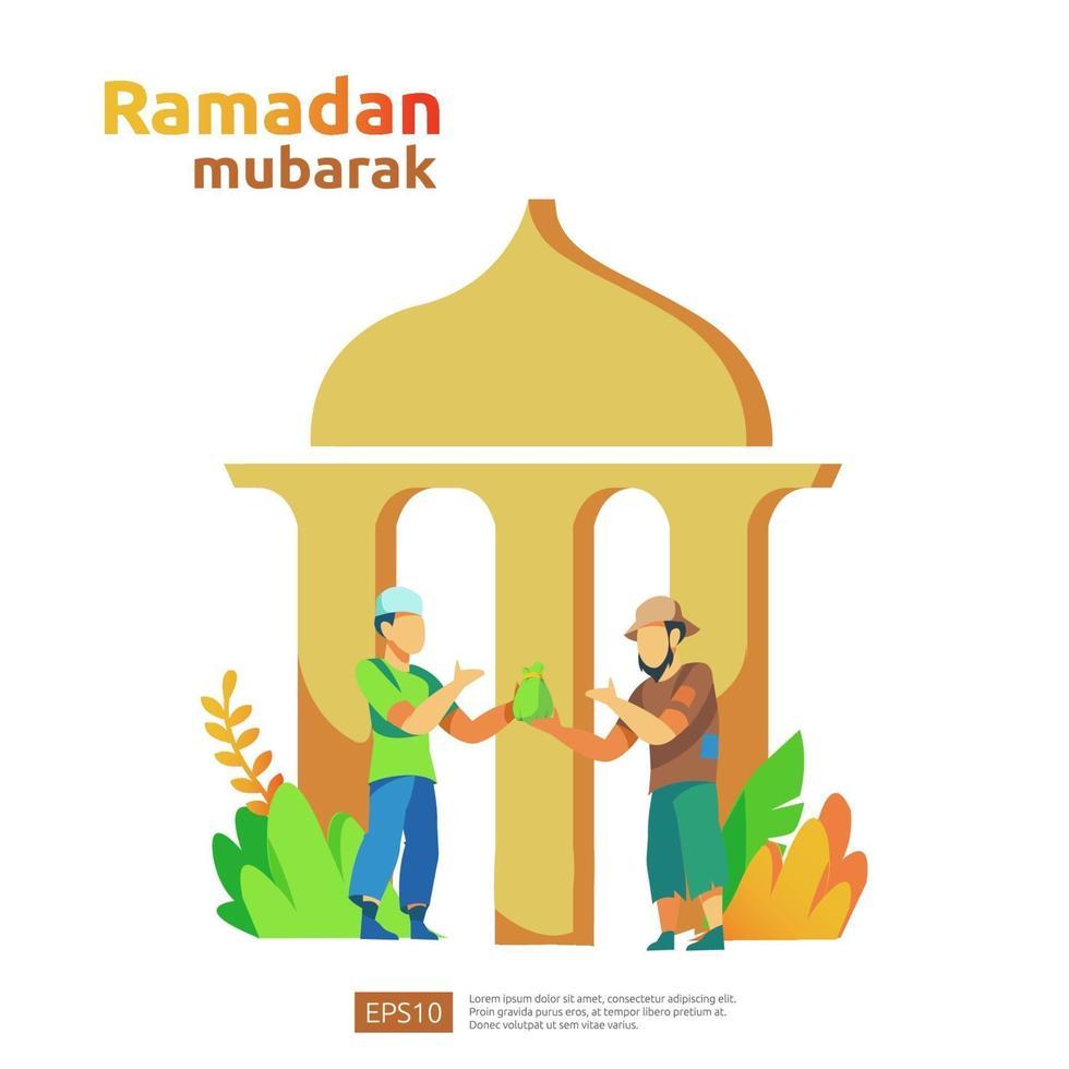 feliz ramadan mubarak y eid fitr islámico o adha concepto de saludo de diseño plano con carácter de personas para plantilla de página de destino web, banner, presentación, redes sociales y medios impresos vector