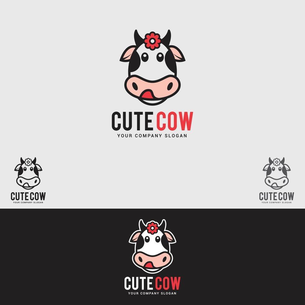 plantilla de vector de diseño de logotipo de vaca linda