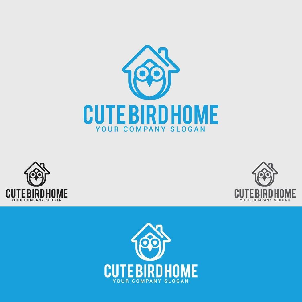plantilla de vector de diseño de logotipo de casa de pájaro lindo
